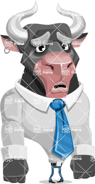 Bull Cartoon Character Dressed with Business Clothes AKA Will Horns - Sad