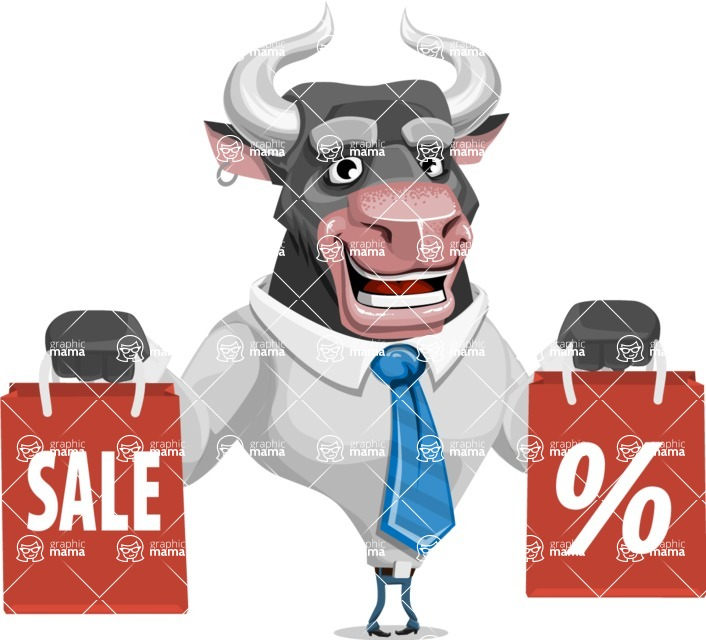 Bull Cartoon Character Dressed with Business Clothes AKA Will Horns - Sale 2