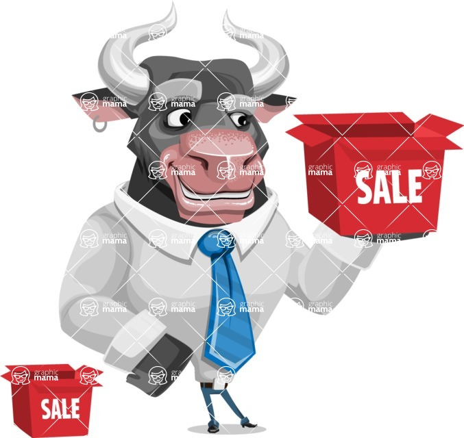 Bull Cartoon Character Dressed with Business Clothes AKA Will Horns - Sale