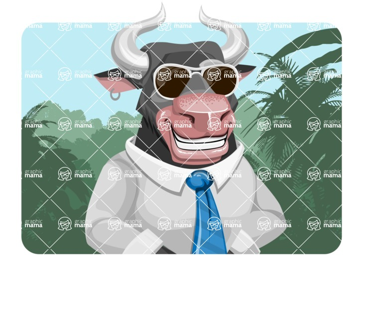 Bull Cartoon Character Dressed with Business Clothes AKA Will Horns - Shape 1