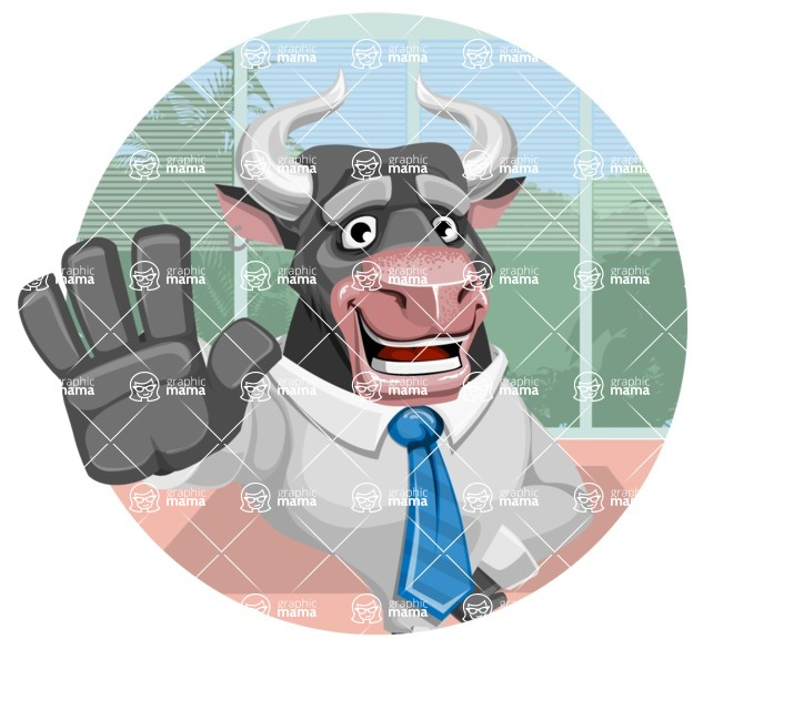 Bull Cartoon Character Dressed with Business Clothes AKA Will Horns - Shape 2