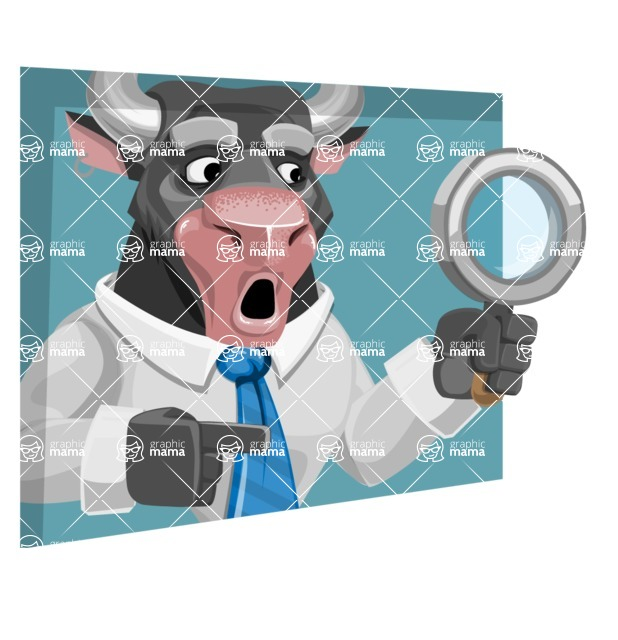 Bull Cartoon Character Dressed with Business Clothes AKA Will Horns - Shape 3