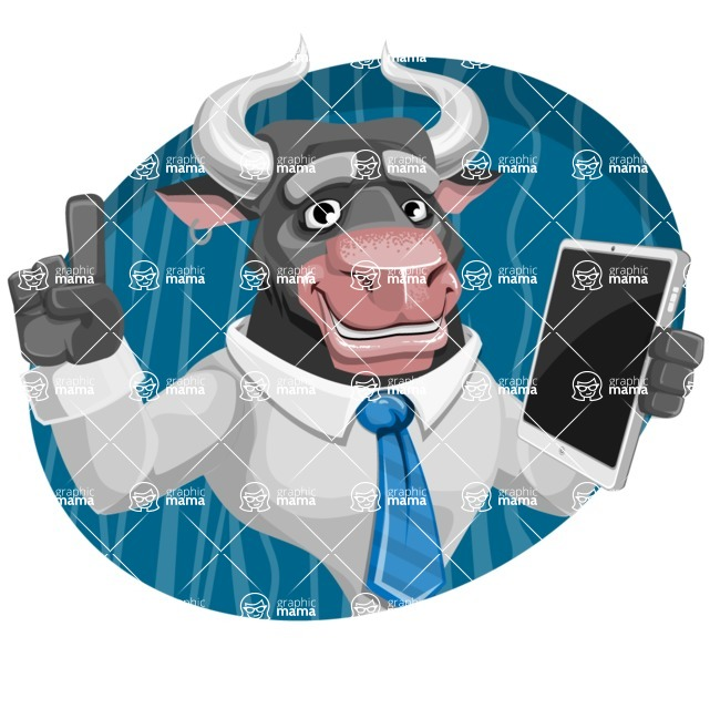 Bull Cartoon Character Dressed with Business Clothes AKA Will Horns - Shape 4