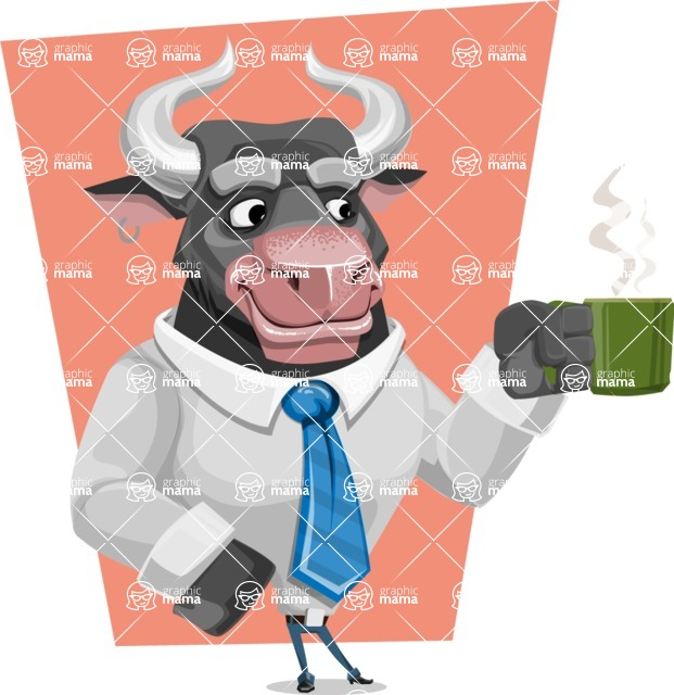 Bull Cartoon Character Dressed with Business Clothes AKA Will Horns - Shape 5