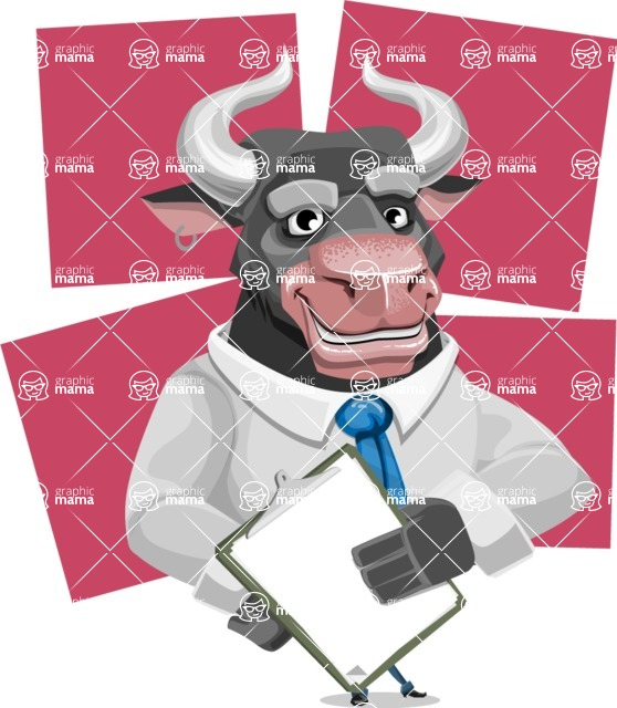 Bull Cartoon Character Dressed with Business Clothes AKA Will Horns - Shape 6