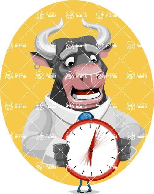 Bull Cartoon Character Dressed with Business Clothes AKA Will Horns - Shape 7