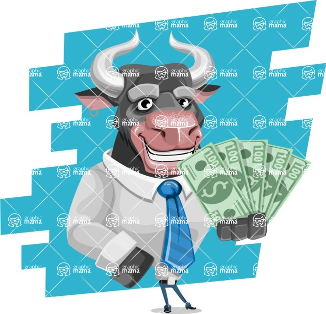Bull Cartoon Character Dressed with Business Clothes AKA Will Horns - Shape 9