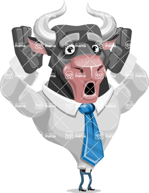 Bull Cartoon Character Dressed with Business Clothes AKA Will Horns - Shocked