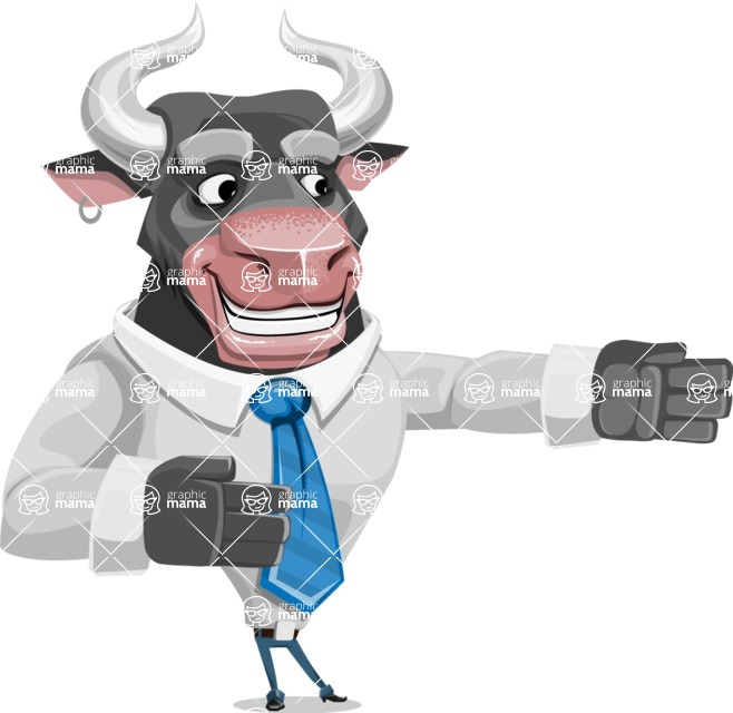 Bull Cartoon Character Dressed with Business Clothes AKA Will Horns - Show 2