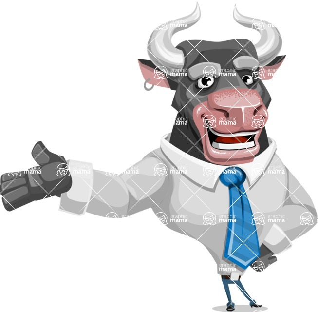 Bull Cartoon Character Dressed with Business Clothes AKA Will Horns - Showcase 2