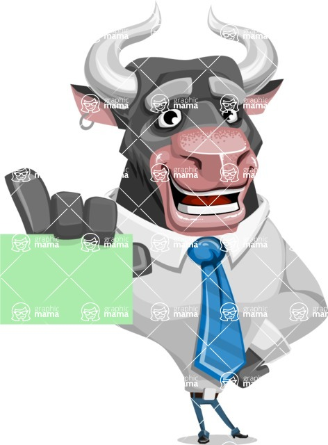 Bull Cartoon Character Dressed with Business Clothes AKA Will Horns - Sign 1