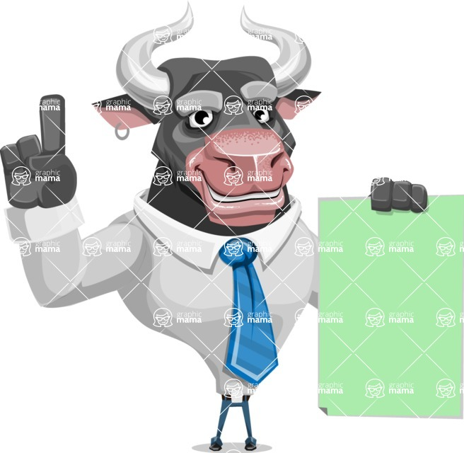 Bull Cartoon Character Dressed with Business Clothes AKA Will Horns - Sign 2
