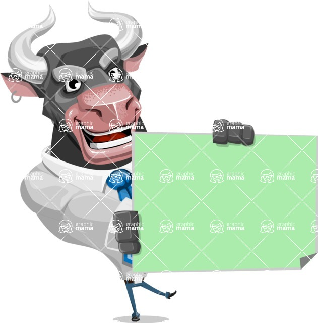 Bull Cartoon Character Dressed with Business Clothes AKA Will Horns - Sign 4