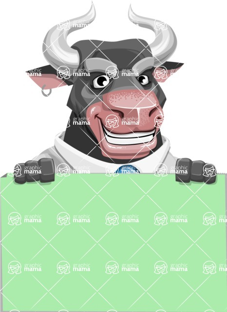 Bull Cartoon Character Dressed with Business Clothes AKA Will Horns - Sign 6