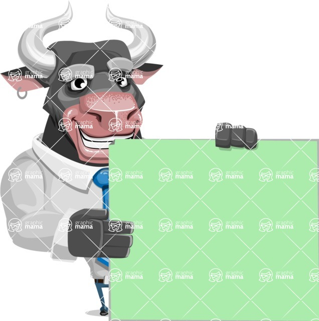 Bull Cartoon Character Dressed with Business Clothes AKA Will Horns - Sign 8