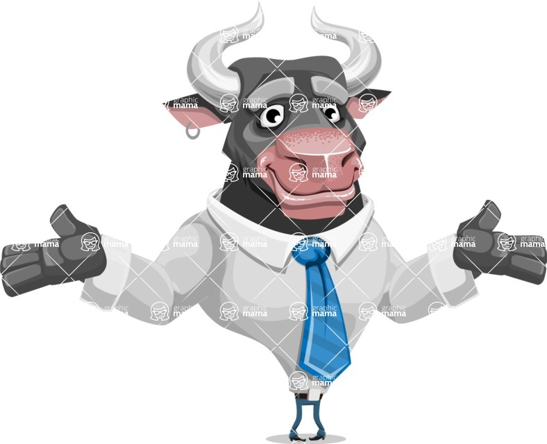 Bull Cartoon Character Dressed with Business Clothes AKA Will Horns - Sorry