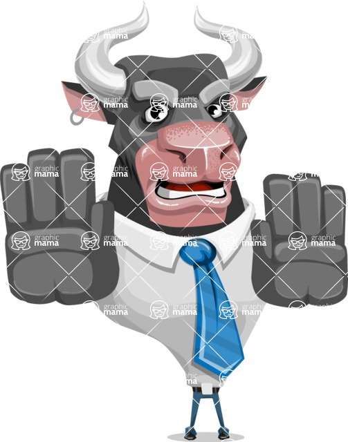 Bull Cartoon Character Dressed with Business Clothes AKA Will Horns - Stop 2