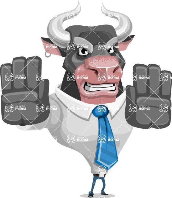 Bull Cartoon Character Dressed with Business Clothes AKA Will Horns - Stop