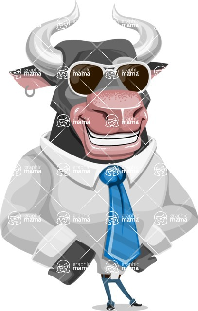 Bull Cartoon Character Dressed with Business Clothes AKA Will Horns - Sunglasses