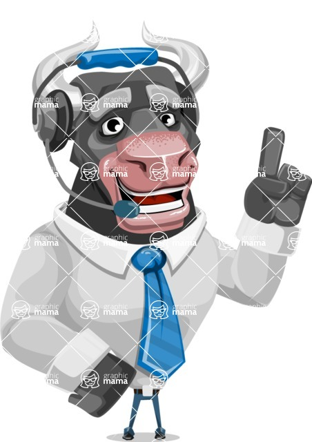 Bull Cartoon Character Dressed with Business Clothes AKA Will Horns - Support 2