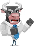 Bull Cartoon Character Dressed with Business Clothes AKA Will Horns - Angry
