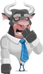 Bull Cartoon Character Dressed with Business Clothes AKA Will Horns - Bored