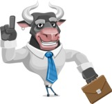 Bull Cartoon Character Dressed with Business Clothes AKA Will Horns - Briefcase 2