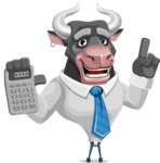 Bull Cartoon Character Dressed with Business Clothes AKA Will Horns - Calculator