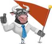 Bull Cartoon Character Dressed with Business Clothes AKA Will Horns - Checkpoint