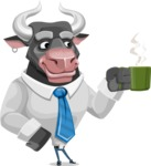 Bull Cartoon Character Dressed with Business Clothes AKA Will Horns - Coffee