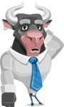 Bull Cartoon Character Dressed with Business Clothes AKA Will Horns - Confused