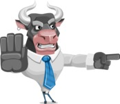 Bull Cartoon Character Dressed with Business Clothes AKA Will Horns - Direct Attention 2