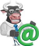 Bull Cartoon Character Dressed with Business Clothes AKA Will Horns - Email