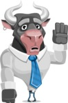 Bull Cartoon Character Dressed with Business Clothes AKA Will Horns - Goodbye