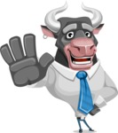 Bull Cartoon Character Dressed with Business Clothes AKA Will Horns - Hello