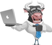 Bull Cartoon Character Dressed with Business Clothes AKA Will Horns - Laptop 1