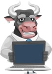 Bull Cartoon Character Dressed with Business Clothes AKA Will Horns - Laptop 2