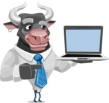 Bull Cartoon Character Dressed with Business Clothes AKA Will Horns - Laptop 3