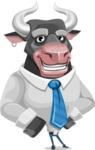 Bull Cartoon Character Dressed with Business Clothes AKA Will Horns - Normal