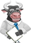 Bull Cartoon Character Dressed with Business Clothes AKA Will Horns - Notepad 4