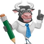 Bull Cartoon Character Dressed with Business Clothes AKA Will Horns - Pencil
