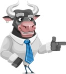 Bull Cartoon Character Dressed with Business Clothes AKA Will Horns - Point