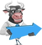 Bull Cartoon Character Dressed with Business Clothes AKA Will Horns - Pointer 2