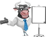 Bull Cartoon Character Dressed with Business Clothes AKA Will Horns - Presentation 1