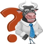 Bull Cartoon Character Dressed with Business Clothes AKA Will Horns - Question