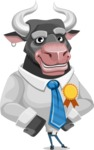 Bull Cartoon Character Dressed with Business Clothes AKA Will Horns - Ribbon