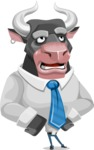 Bull Cartoon Character Dressed with Business Clothes AKA Will Horns - Roll Eyes