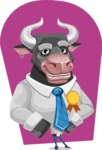 Bull Cartoon Character Dressed with Business Clothes AKA Will Horns - Shape 10