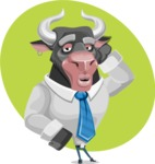 Bull Cartoon Character Dressed with Business Clothes AKA Will Horns - Shape 11