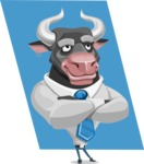 Bull Cartoon Character Dressed with Business Clothes AKA Will Horns - Shape 12